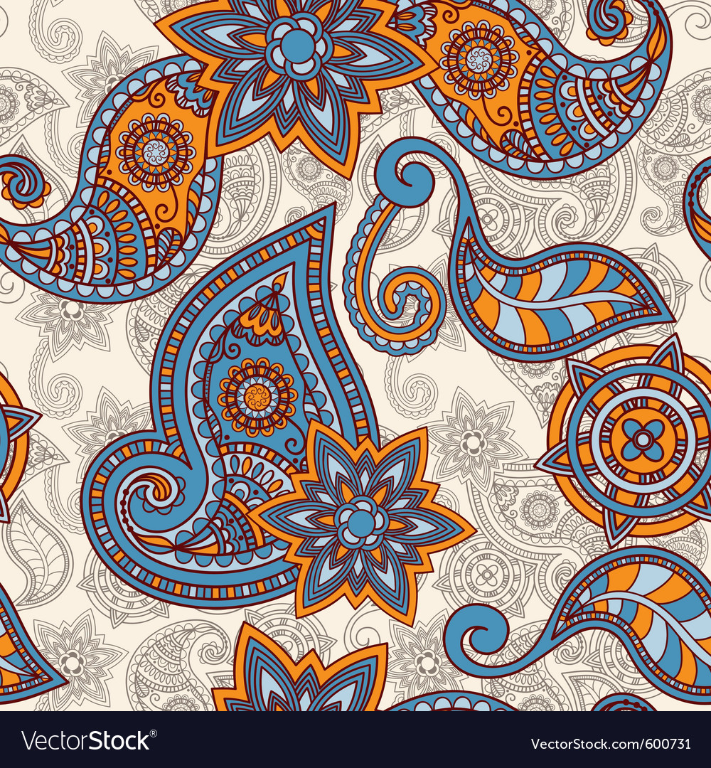Seamless hand drawn paisley pattern clipping masks vector | Price: 1 Credit (USD $1)