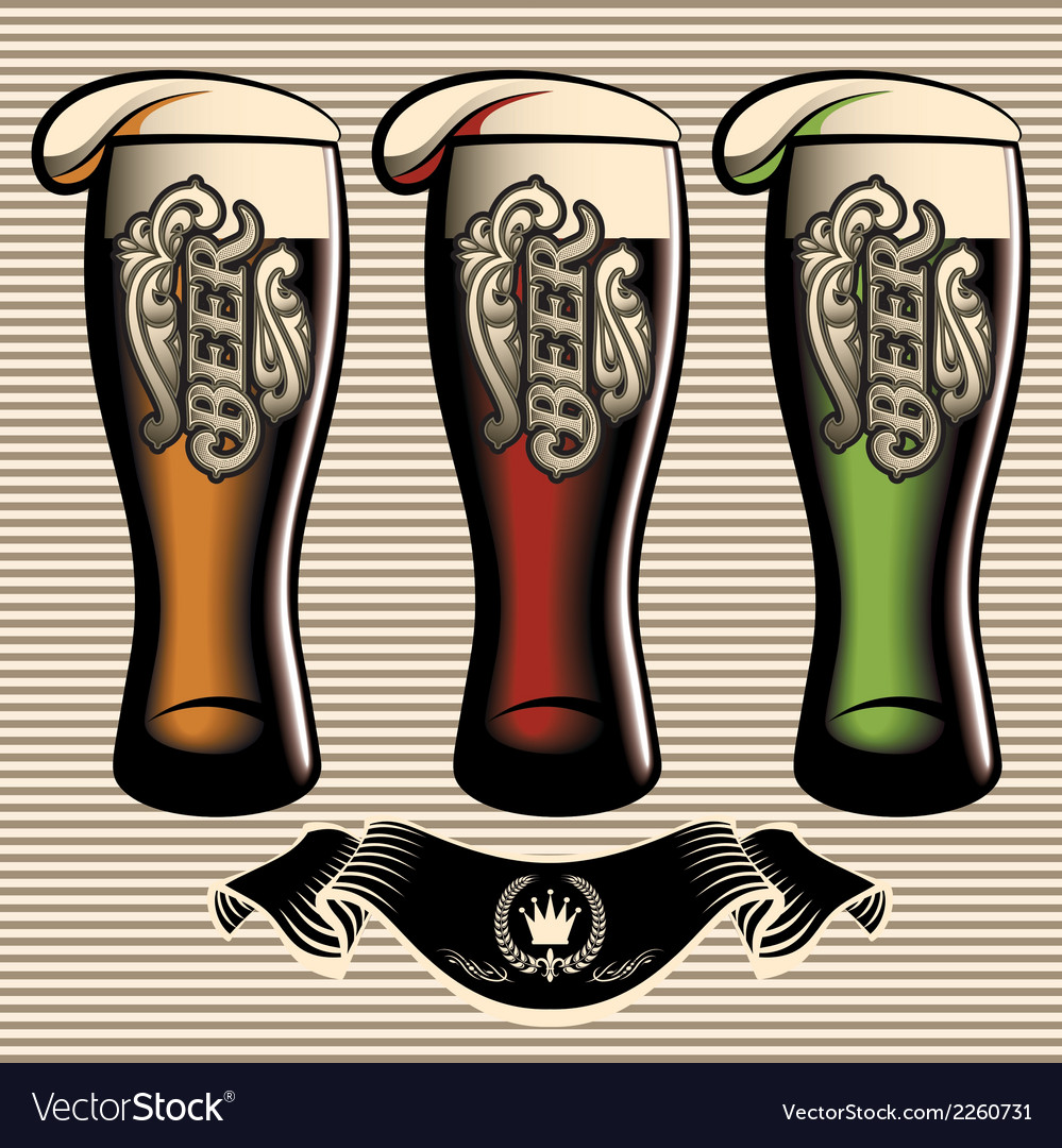 Set of different kinds glasses of beer vector | Price: 1 Credit (USD $1)