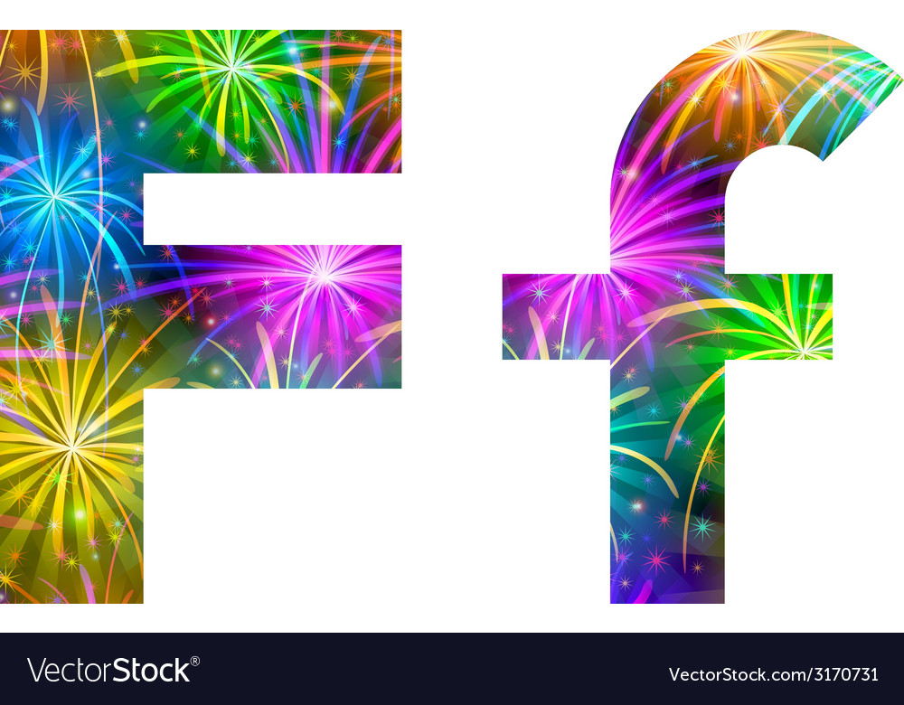 Set of letters firework f vector | Price: 1 Credit (USD $1)