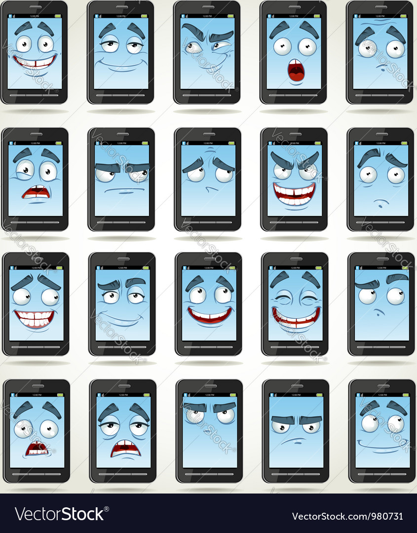 Set of smiles phones with different emotions vector | Price: 1 Credit (USD $1)