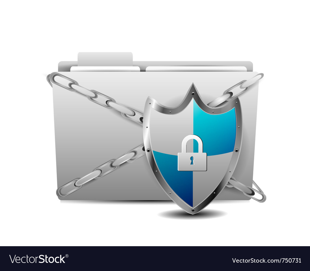 Shield with folder vector | Price: 1 Credit (USD $1)