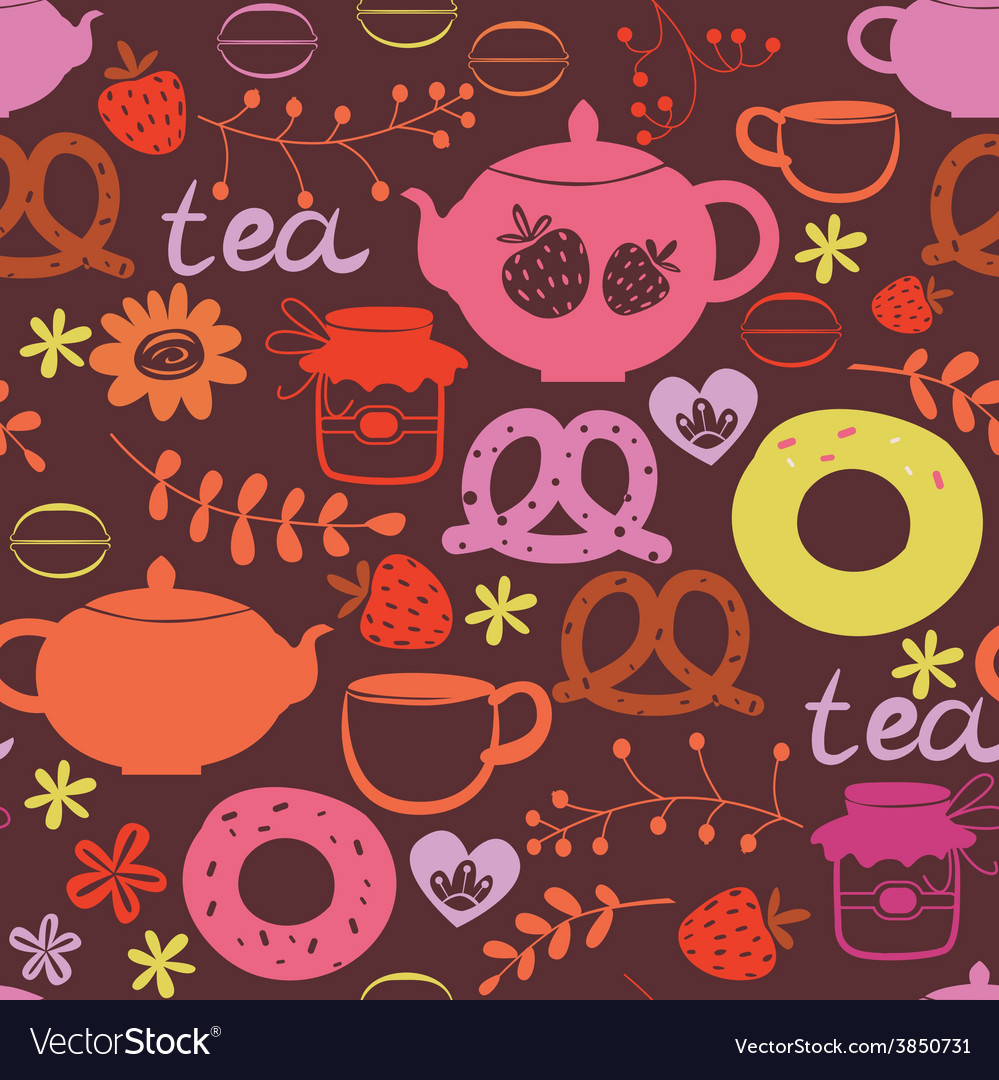 Tea pot and sweets seamless pattern vector | Price: 1 Credit (USD $1)