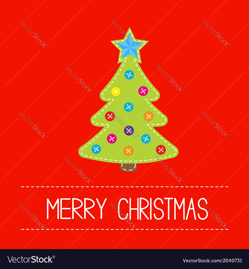 Tissue christmas tree with buttons and star card vector | Price: 1 Credit (USD $1)