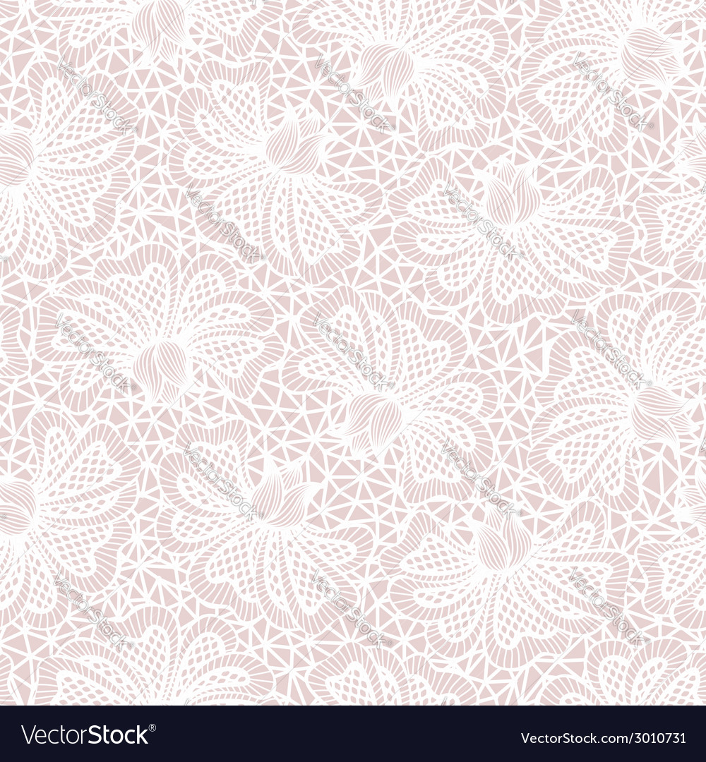 White seamless flower lace pattern on pink backgro vector | Price: 1 Credit (USD $1)