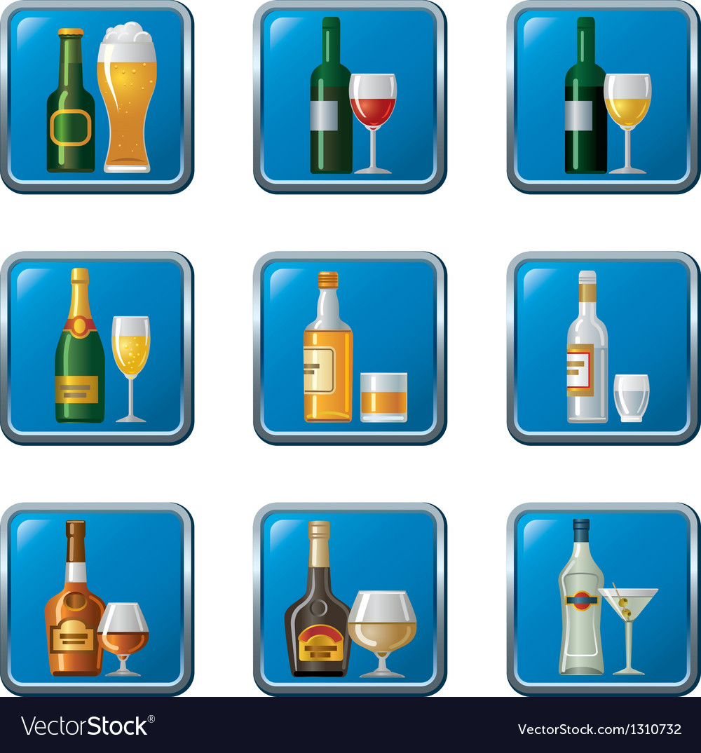 Alcohol drinks icon set buttons vector | Price: 3 Credit (USD $3)
