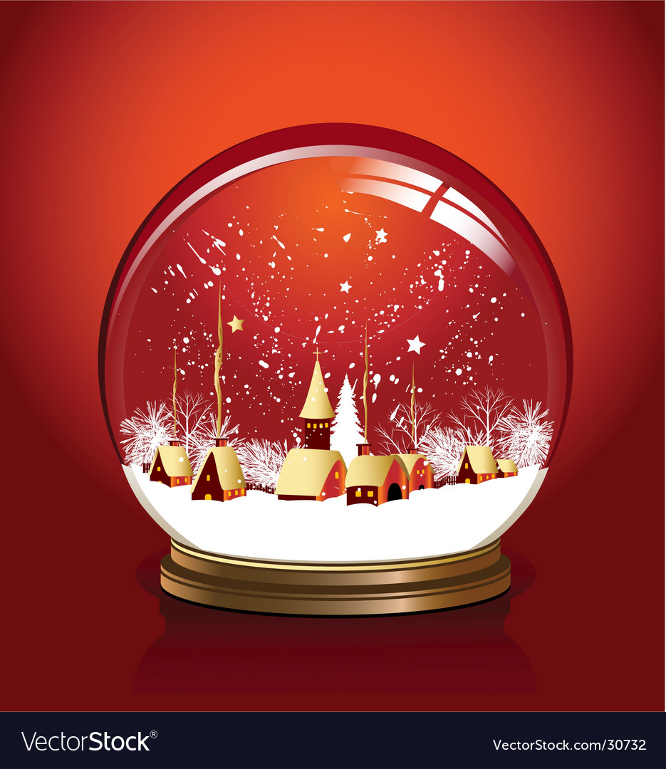 Ball snow red vector | Price: 1 Credit (USD $1)