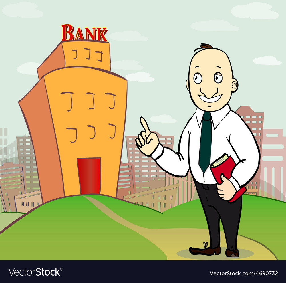 Business man going to bank vector | Price: 1 Credit (USD $1)