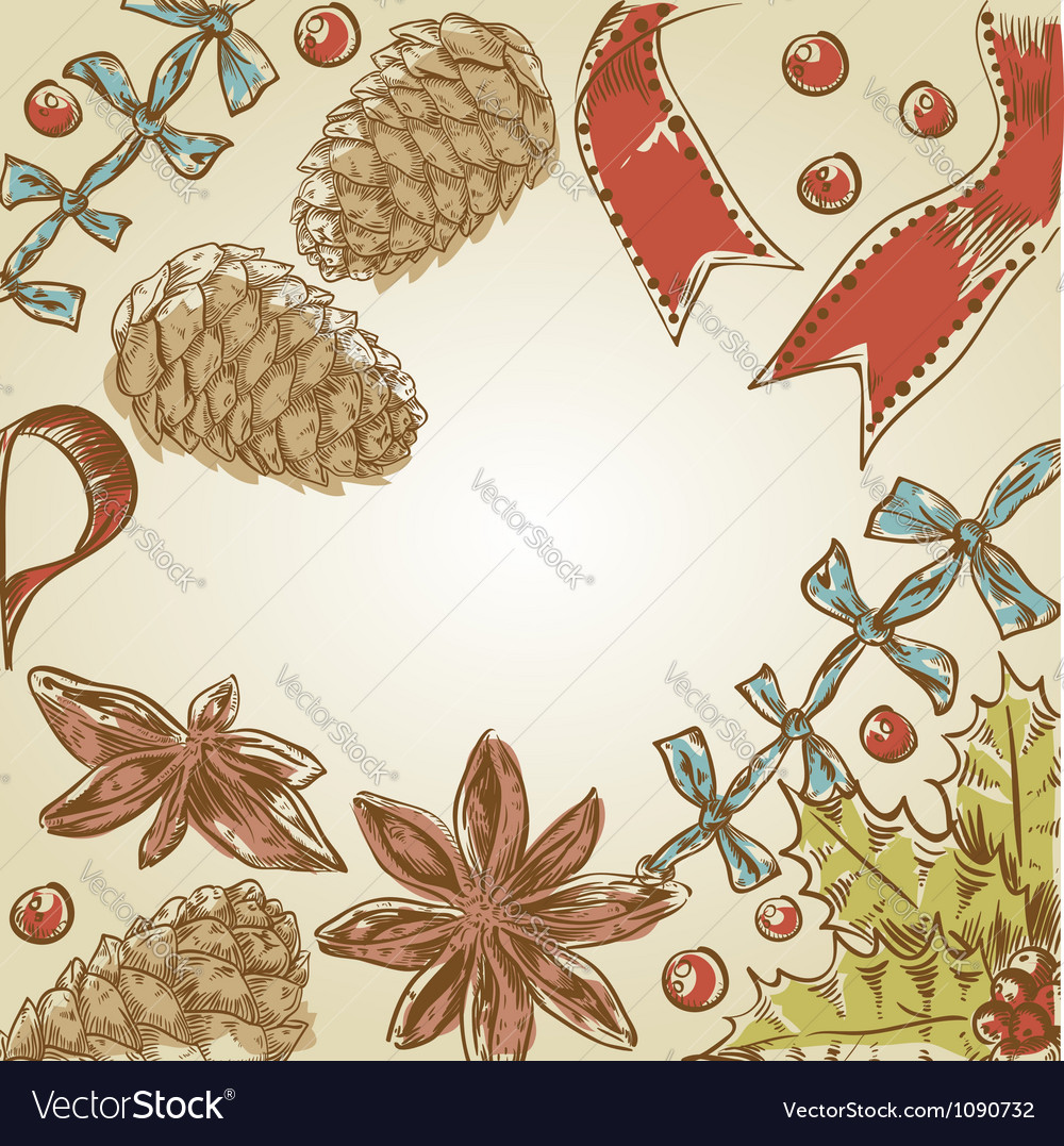 Christmas hand drawn ink retro postcard vector | Price: 1 Credit (USD $1)