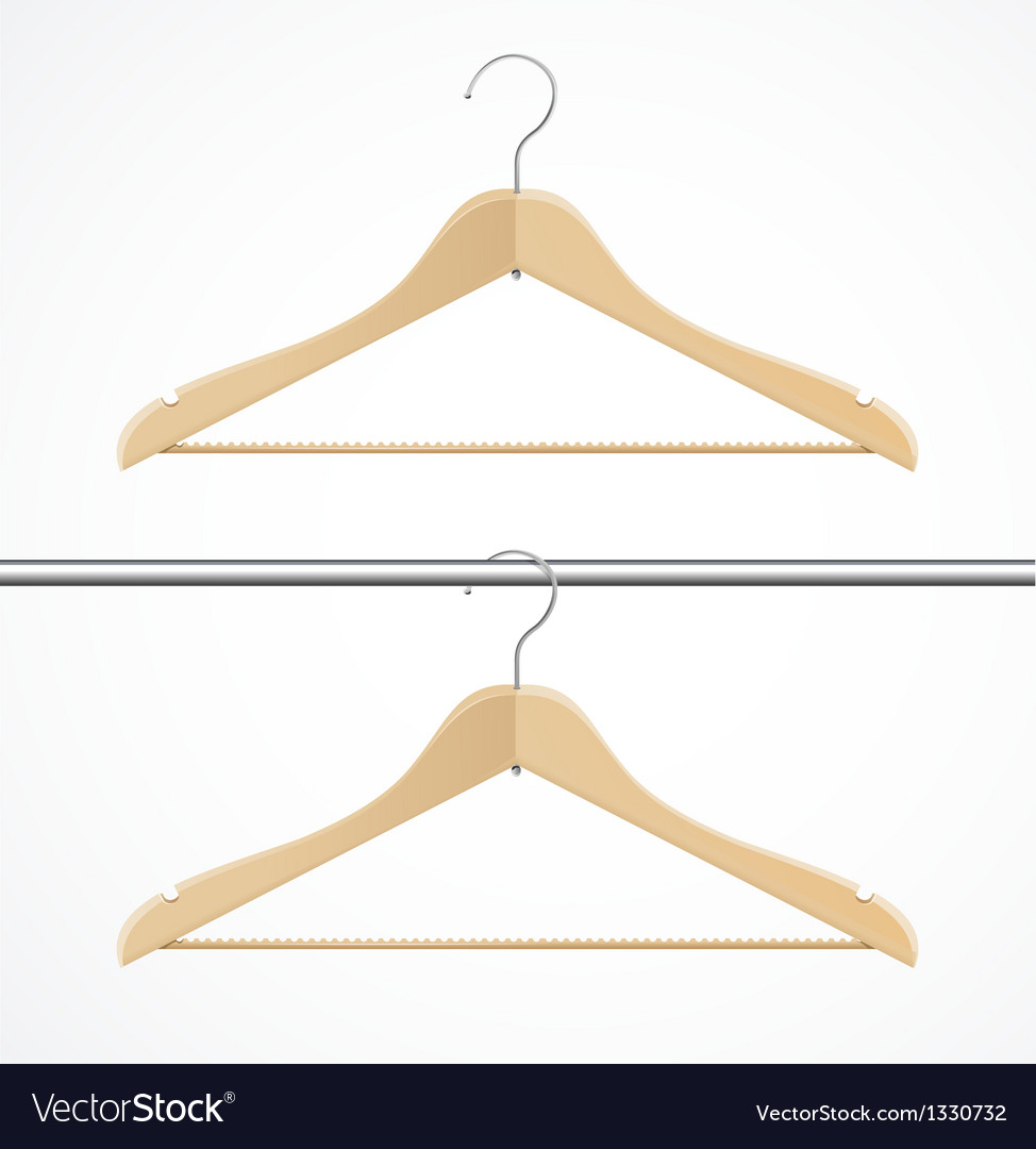 Coat hanger wood isolated on white vector | Price: 1 Credit (USD $1)