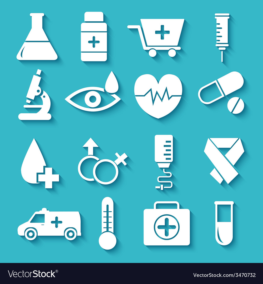 Flat medical equipment set in shape heart icons vector | Price: 1 Credit (USD $1)