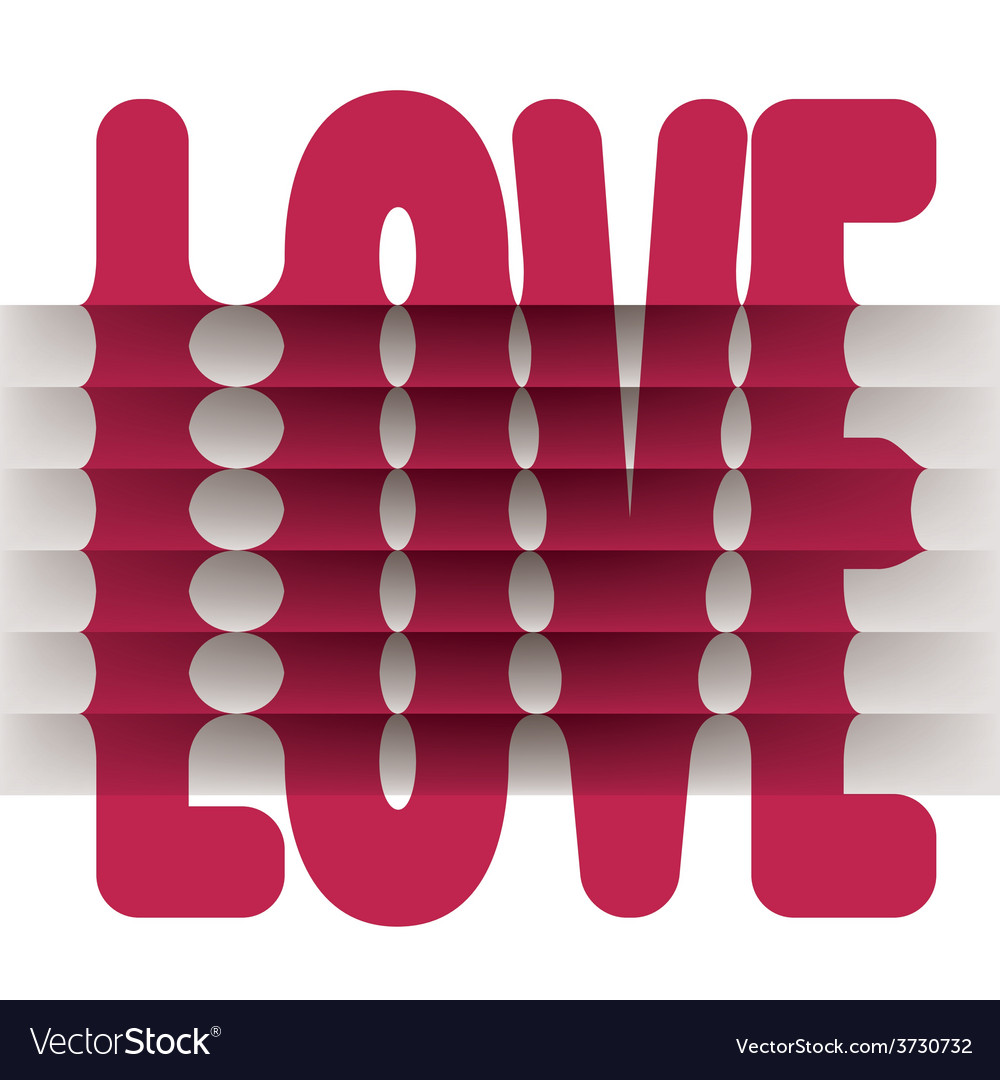 Folded love word vector | Price: 1 Credit (USD $1)