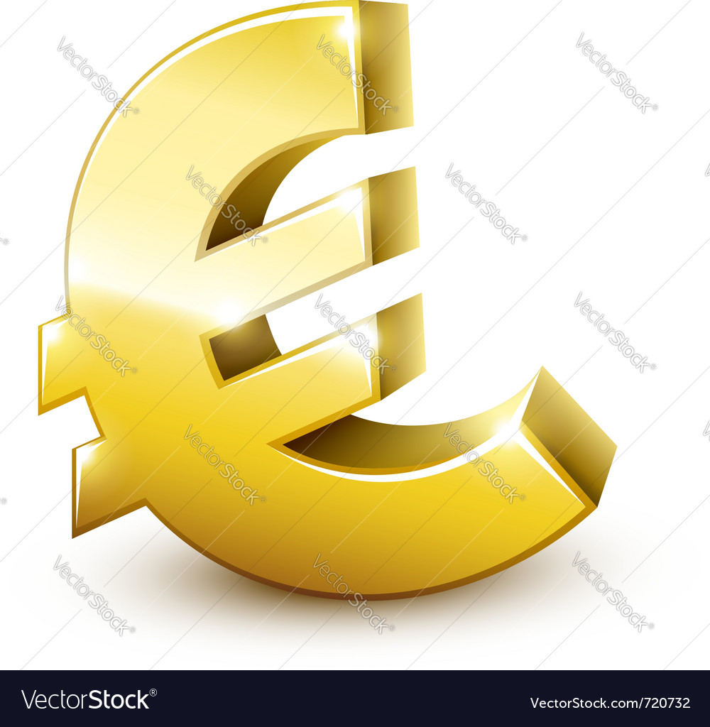 Gold sign euro currency vector | Price: 1 Credit (USD $1)
