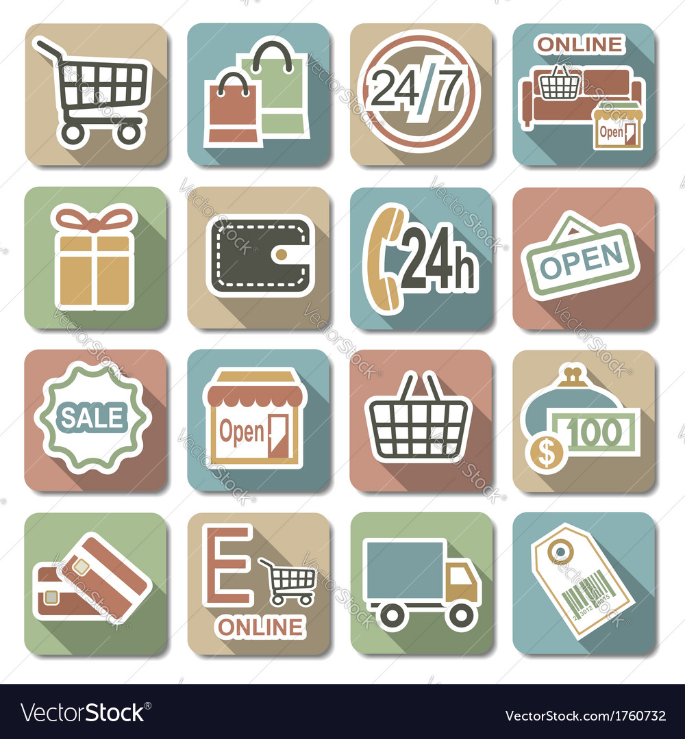 Shopping flat icons vector | Price: 1 Credit (USD $1)