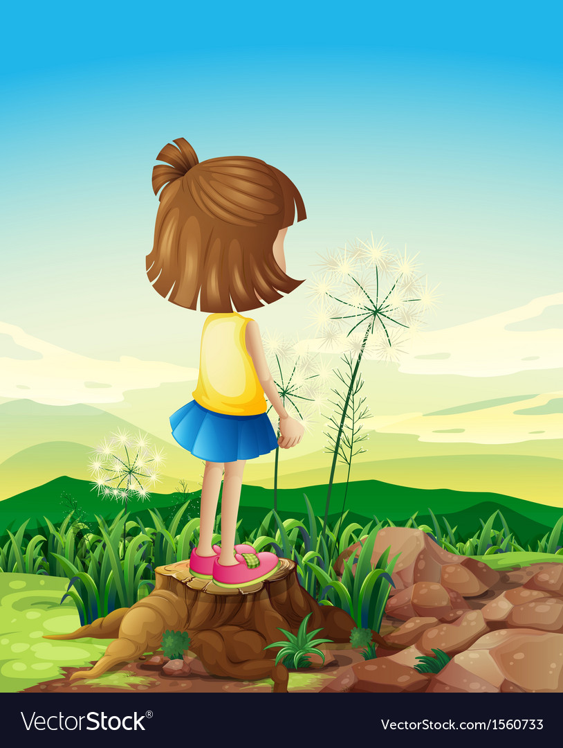 A child standing above the stump while sightseeing vector | Price: 3 Credit (USD $3)