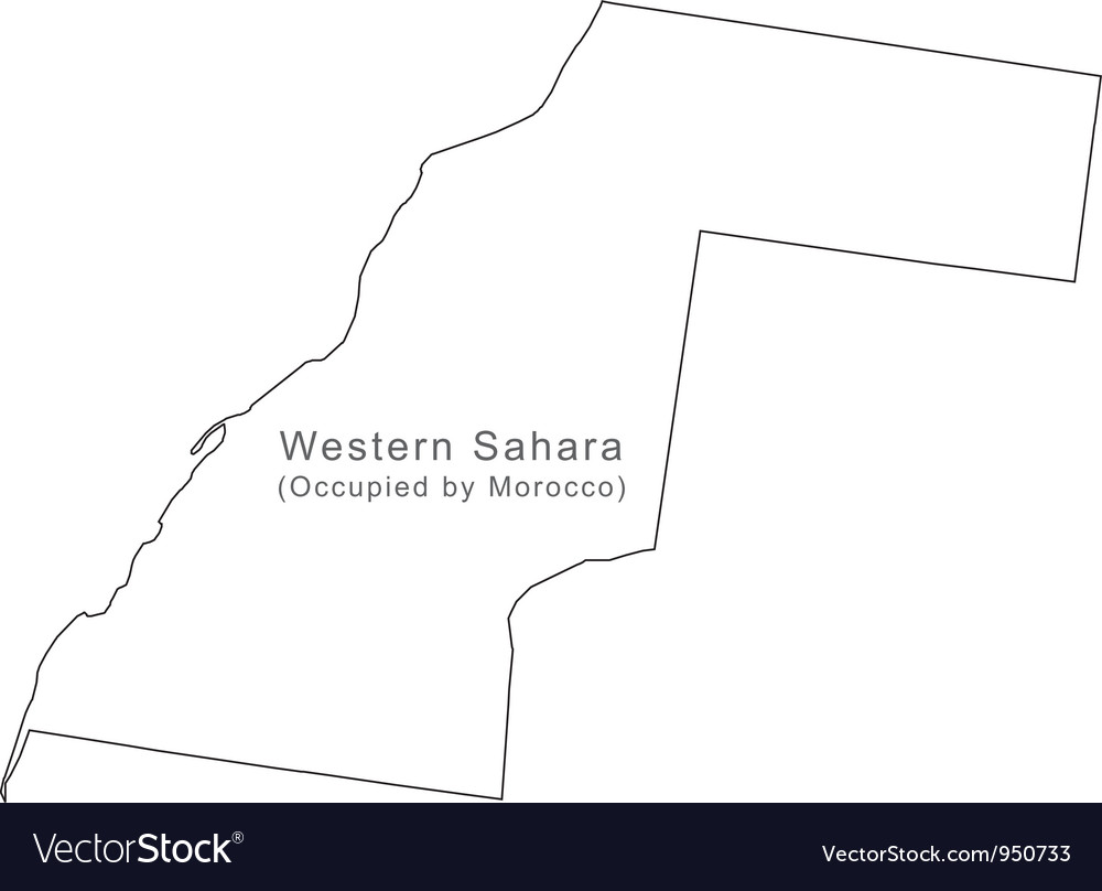 Black white western sahara outline map vector | Price: 1 Credit (USD $1)