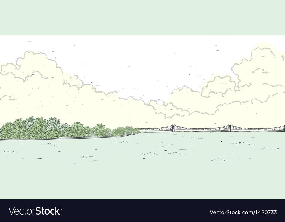 Bridge coastline background vector   Price: 1 Credit (USD $1)