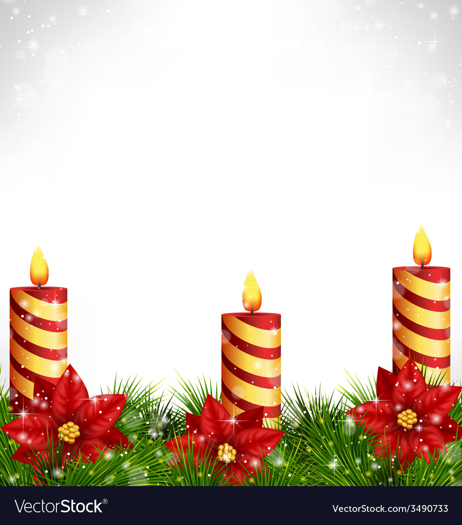 Candles with pine and poinsettia on grayscale vector   Price: 1 Credit (USD $1)