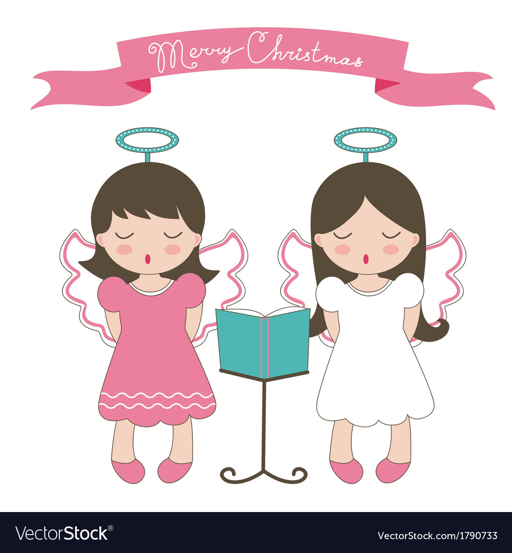 Christmas card with little angels vector | Price: 1 Credit (USD $1)