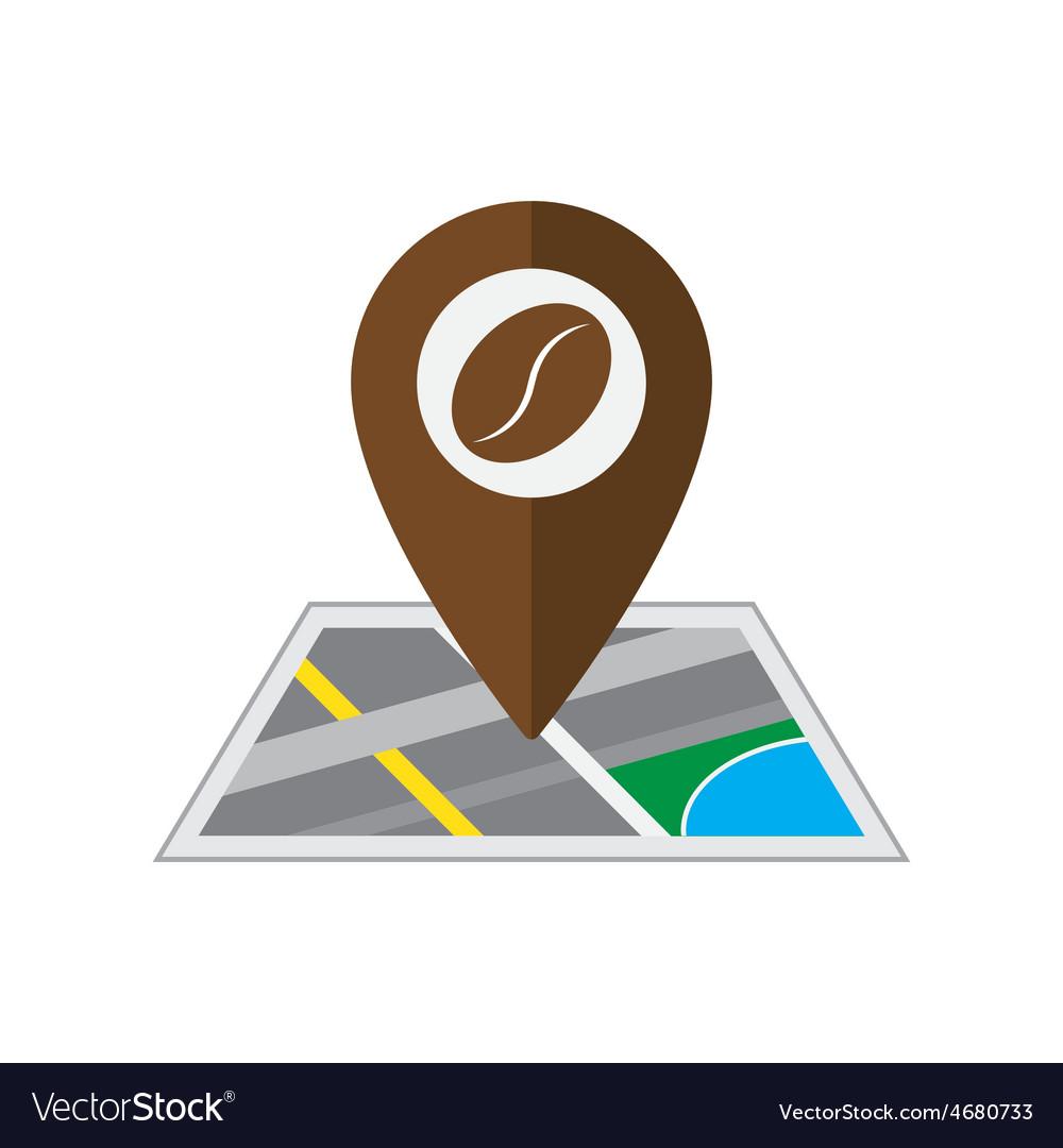 Coffee pin on coordinated map location illu vector   Price: 1 Credit (USD $1)