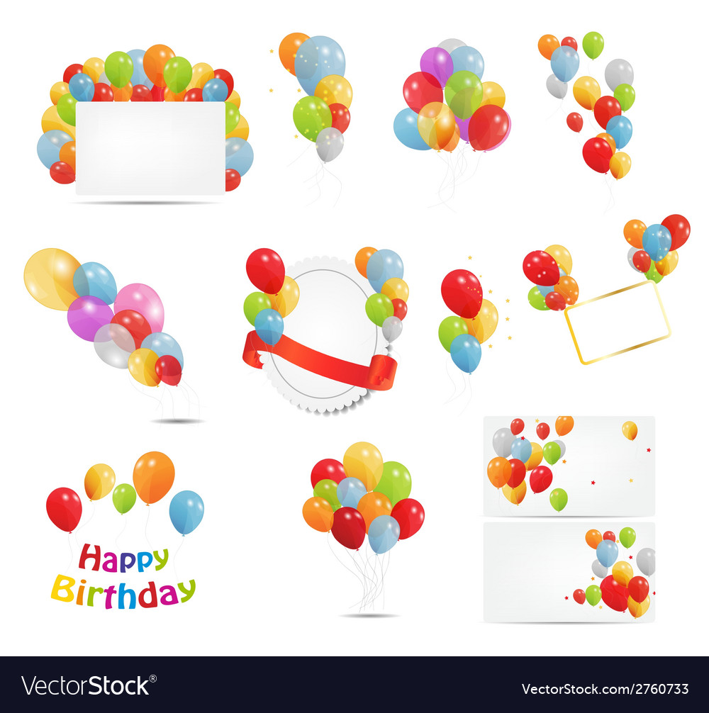 Colored balloons set vector | Price: 1 Credit (USD $1)