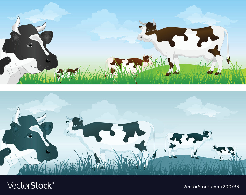 Cow in meadow vector | Price: 1 Credit (USD $1)