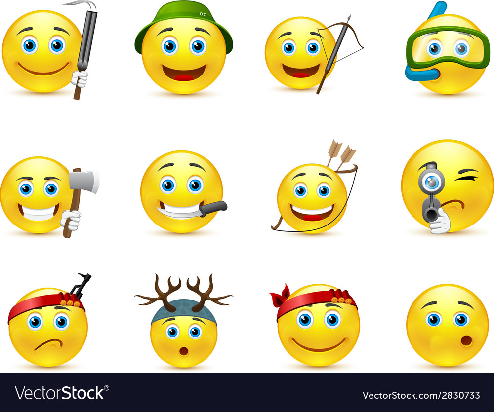 Hunting and adventure smiley icon set vector | Price: 1 Credit (USD $1)