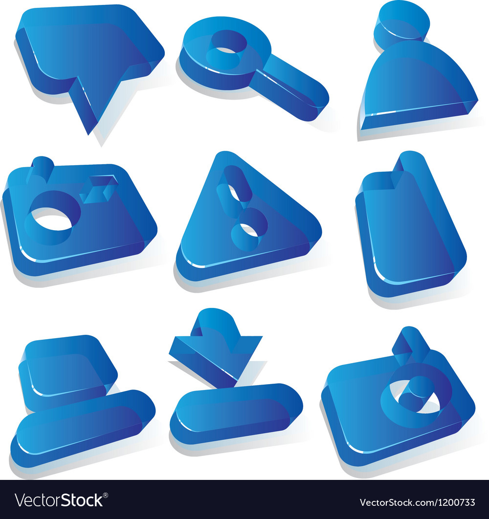Media blue acrylic icons vector | Price: 1 Credit (USD $1)