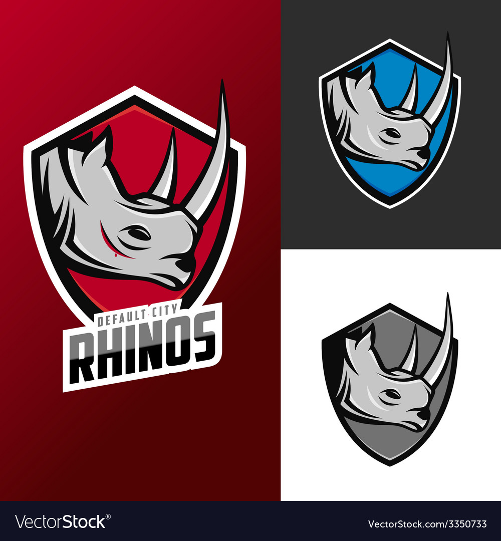 Rhino mascots set for sport teams vector | Price: 1 Credit (USD $1)