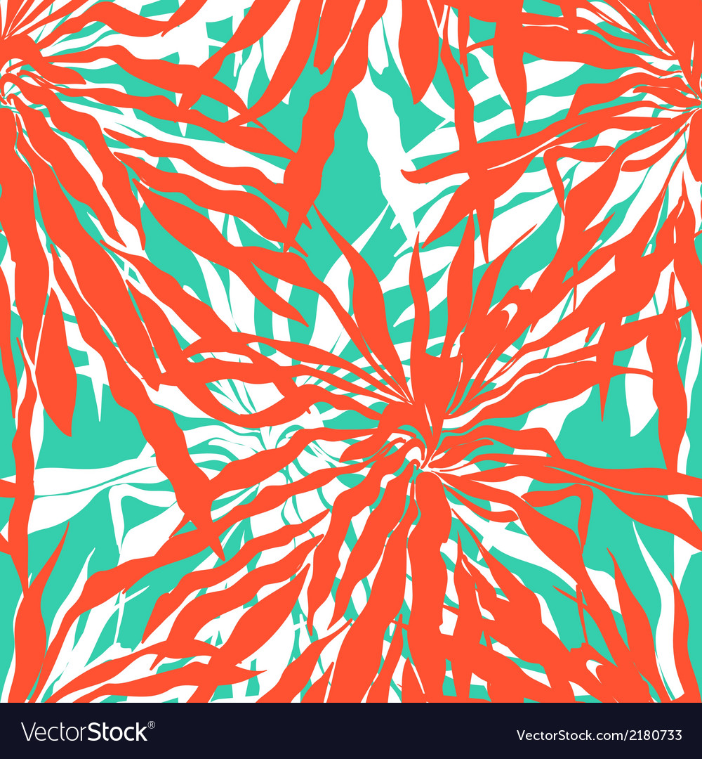 Seamless pattern with tropical palm leaves vector   Price: 1 Credit (USD $1)