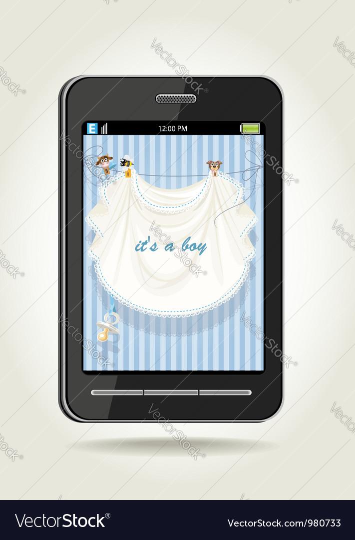 Smartphone with baby boy blue openwork vector | Price: 3 Credit (USD $3)