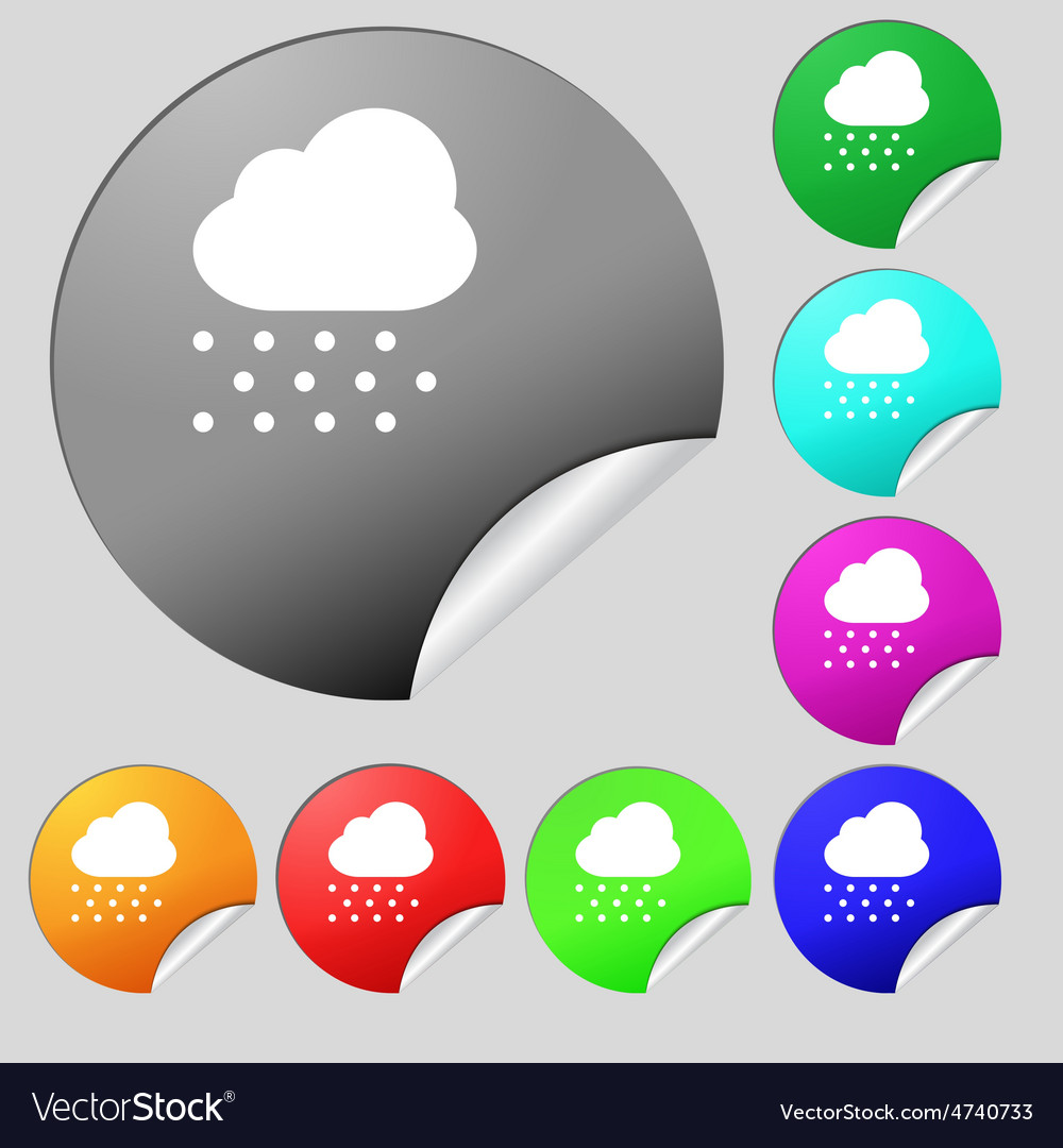 Snowing icon sign set of eight multi-colored round vector | Price: 1 Credit (USD $1)