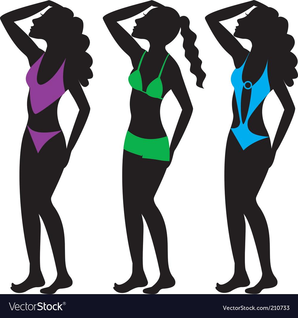 Swim suit silhouettes vector | Price: 1 Credit (USD $1)