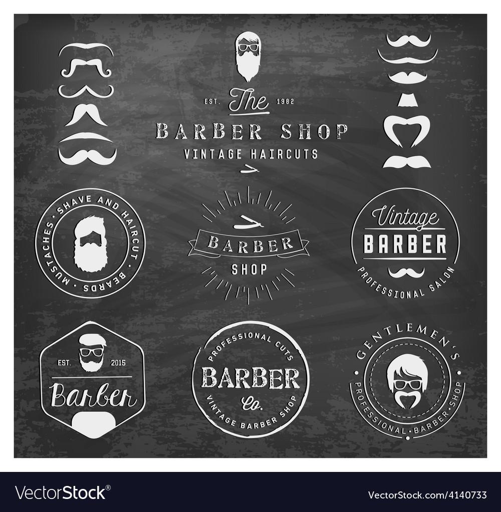 Vintage barber shop badges and labels on chalkboar vector | Price: 1 Credit (USD $1)