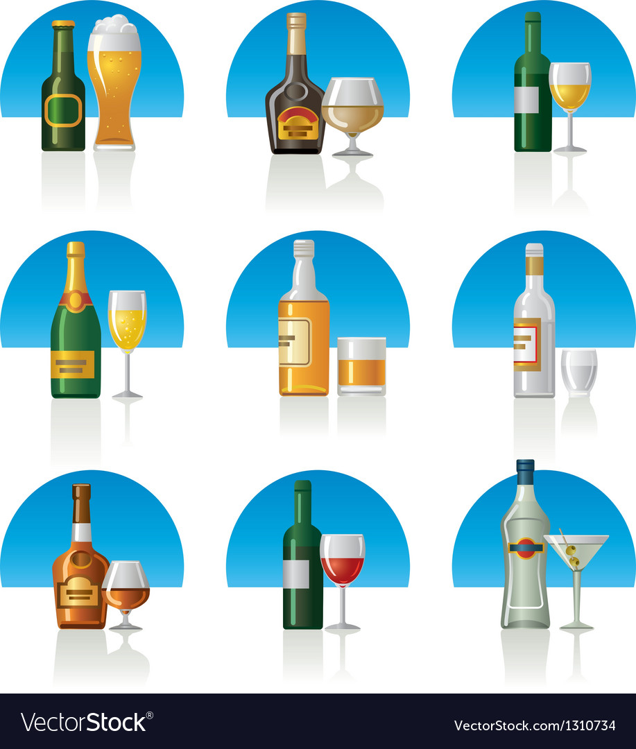 Alcohol drinks icon set vector | Price: 3 Credit (USD $3)