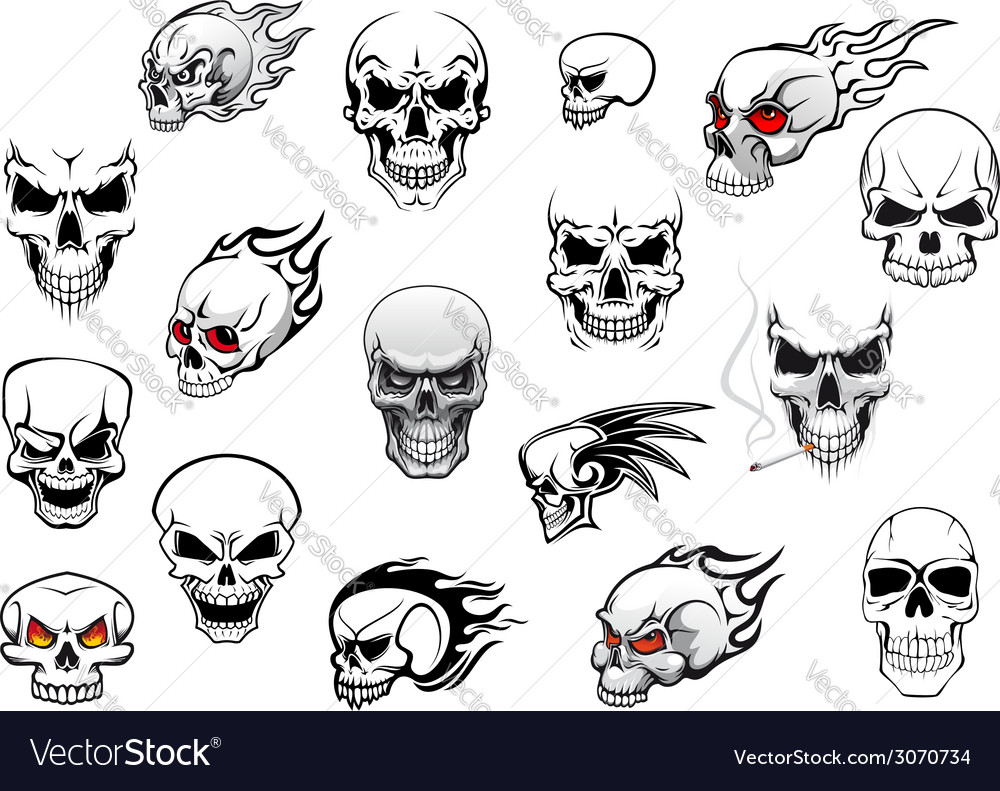 Collection of halloween and horror skulls vector | Price: 1 Credit (USD $1)