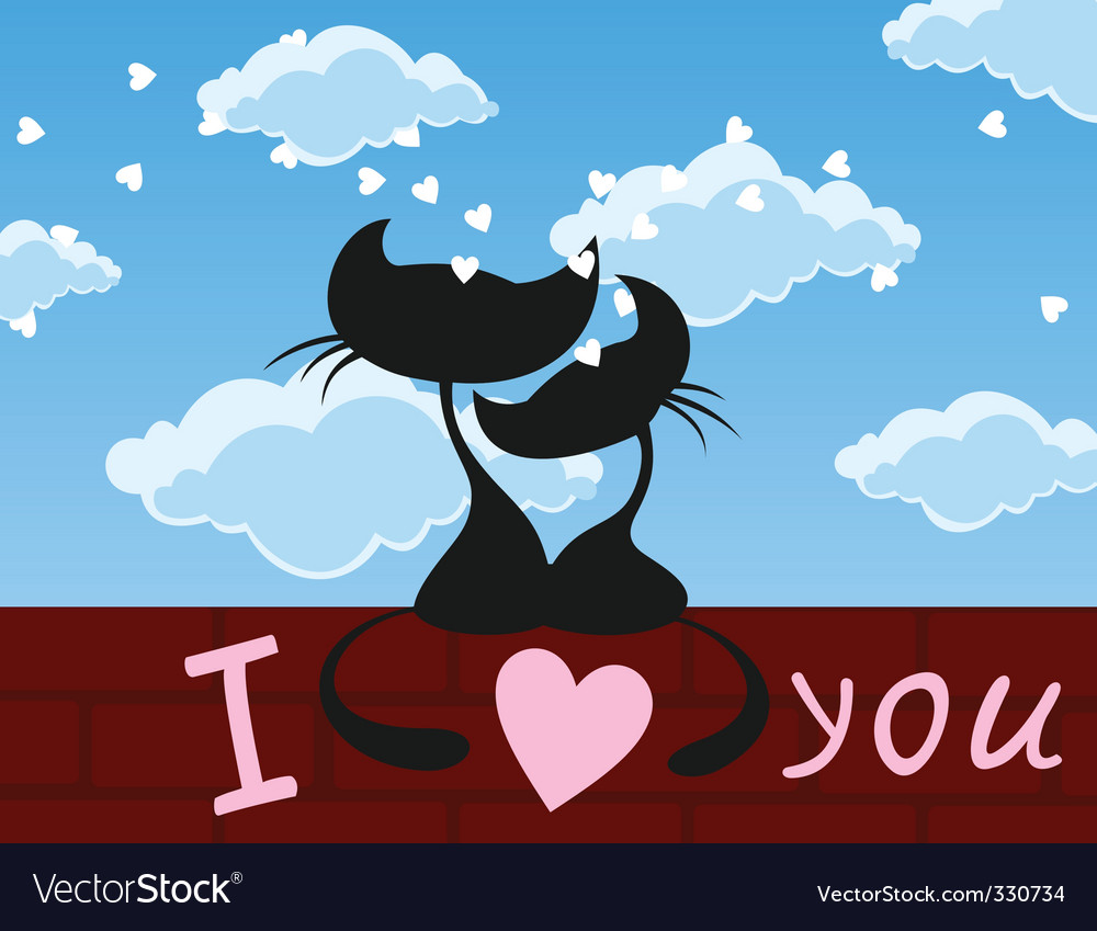 Enamoured cats vector | Price: 1 Credit (USD $1)