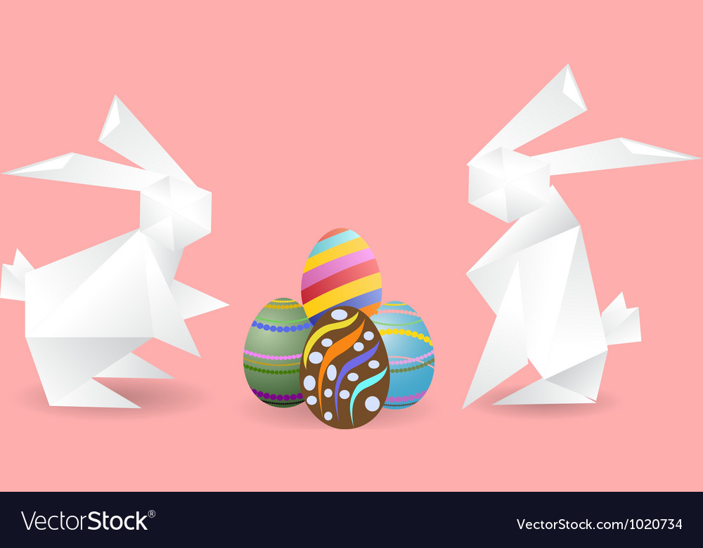Paper rabbits with easter eggs vector | Price: 1 Credit (USD $1)