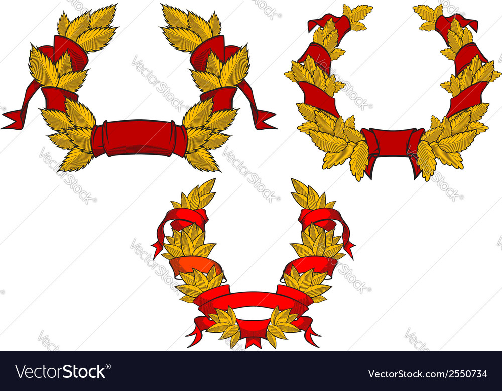 Retro wreaths with red ribbons vector | Price: 1 Credit (USD $1)