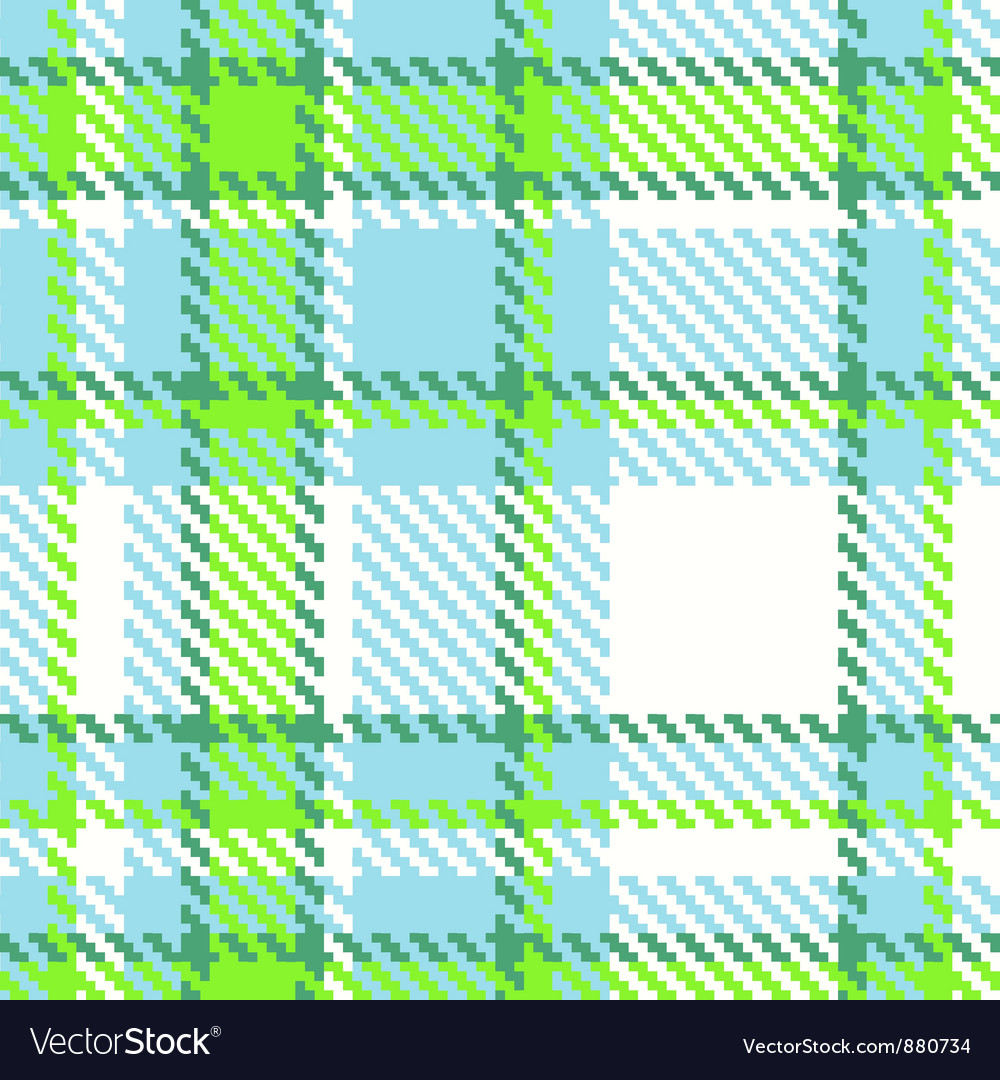 Seamless checkered green blue color pattern vector | Price: 1 Credit (USD $1)
