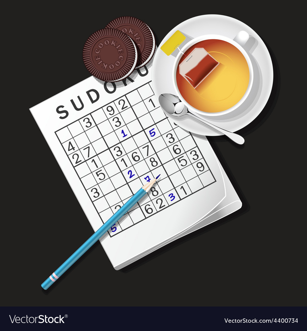 Sudoku game mug of tea and cookie vector | Price: 3 Credit (USD $3)