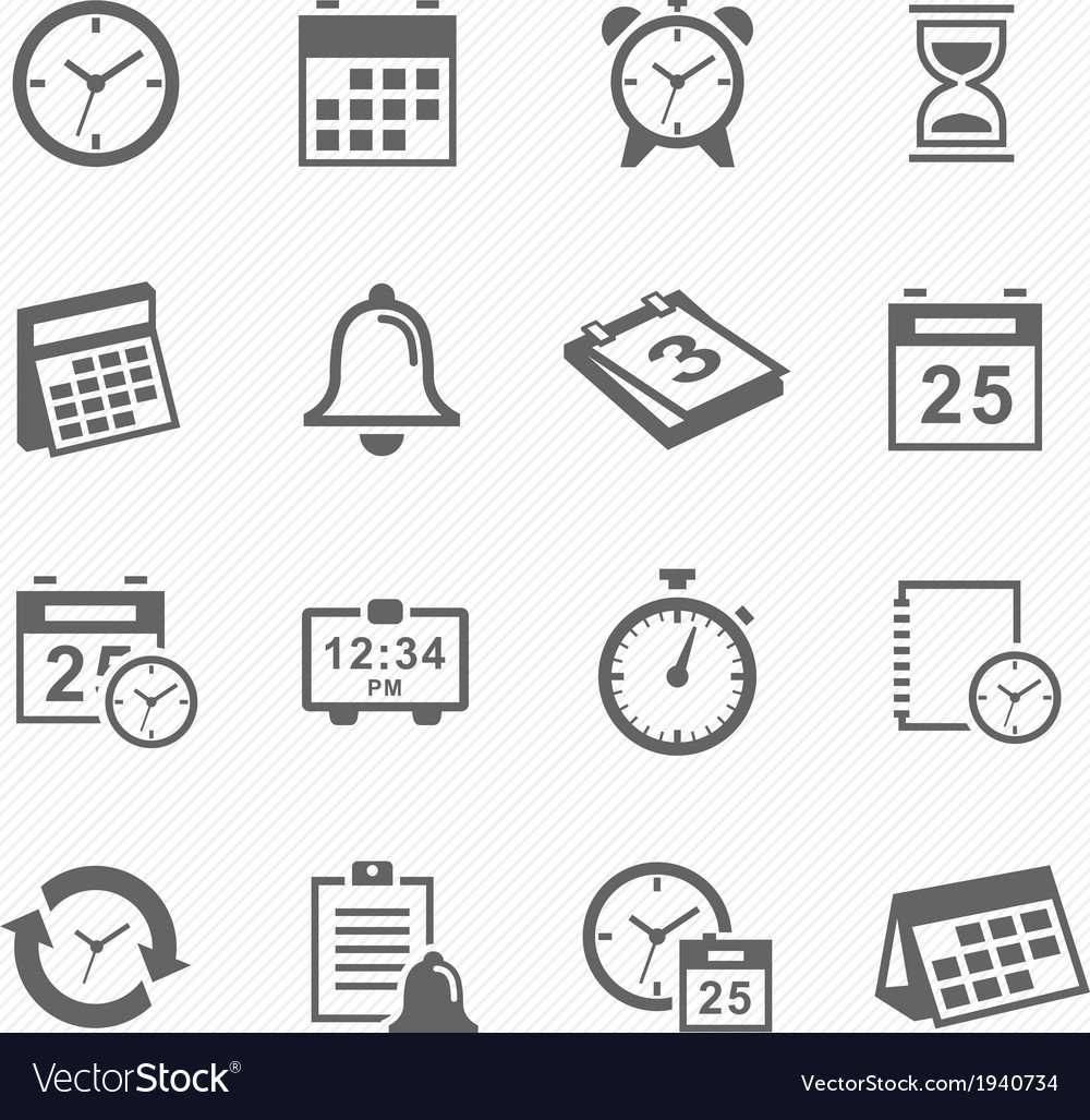 Time and schedule stroke symbol icons set vector | Price: 1 Credit (USD $1)