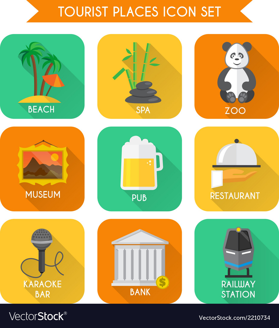 Tourist places icons set vector | Price: 1 Credit (USD $1)