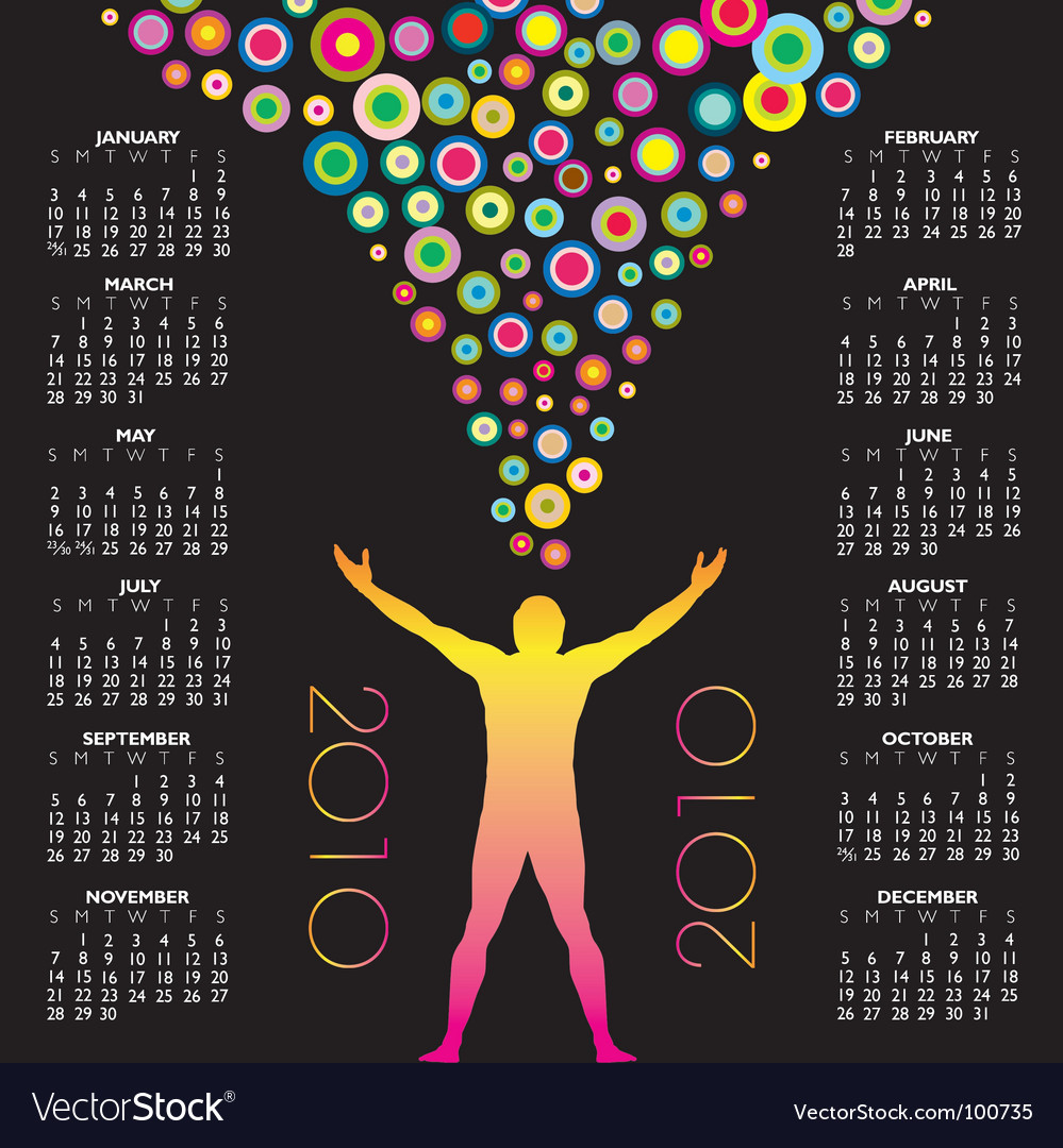 2010 man circles calendar vector | Price: 1 Credit (USD $1)