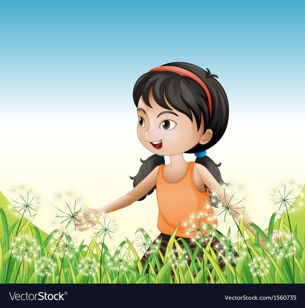 A young girl wearing an orange sando above the vector   Price: 3 Credit (USD $3)