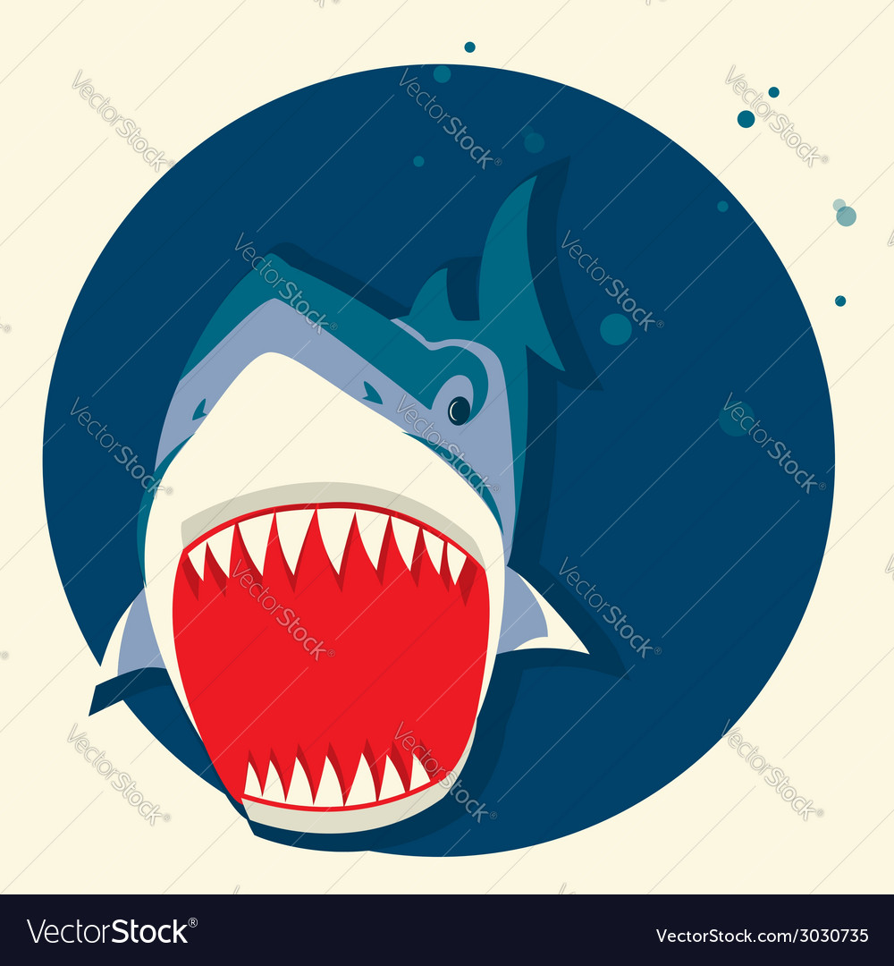Big white shark cartoons vector | Price: 1 Credit (USD $1)