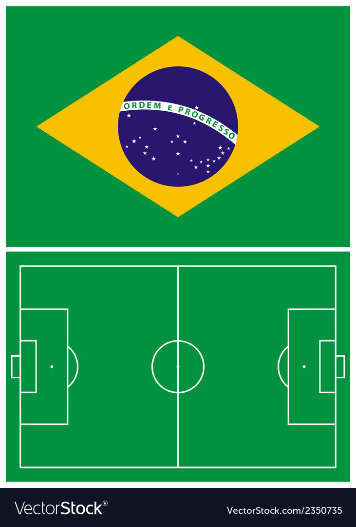 Brazil flag and soccer field vector | Price: 1 Credit (USD $1)
