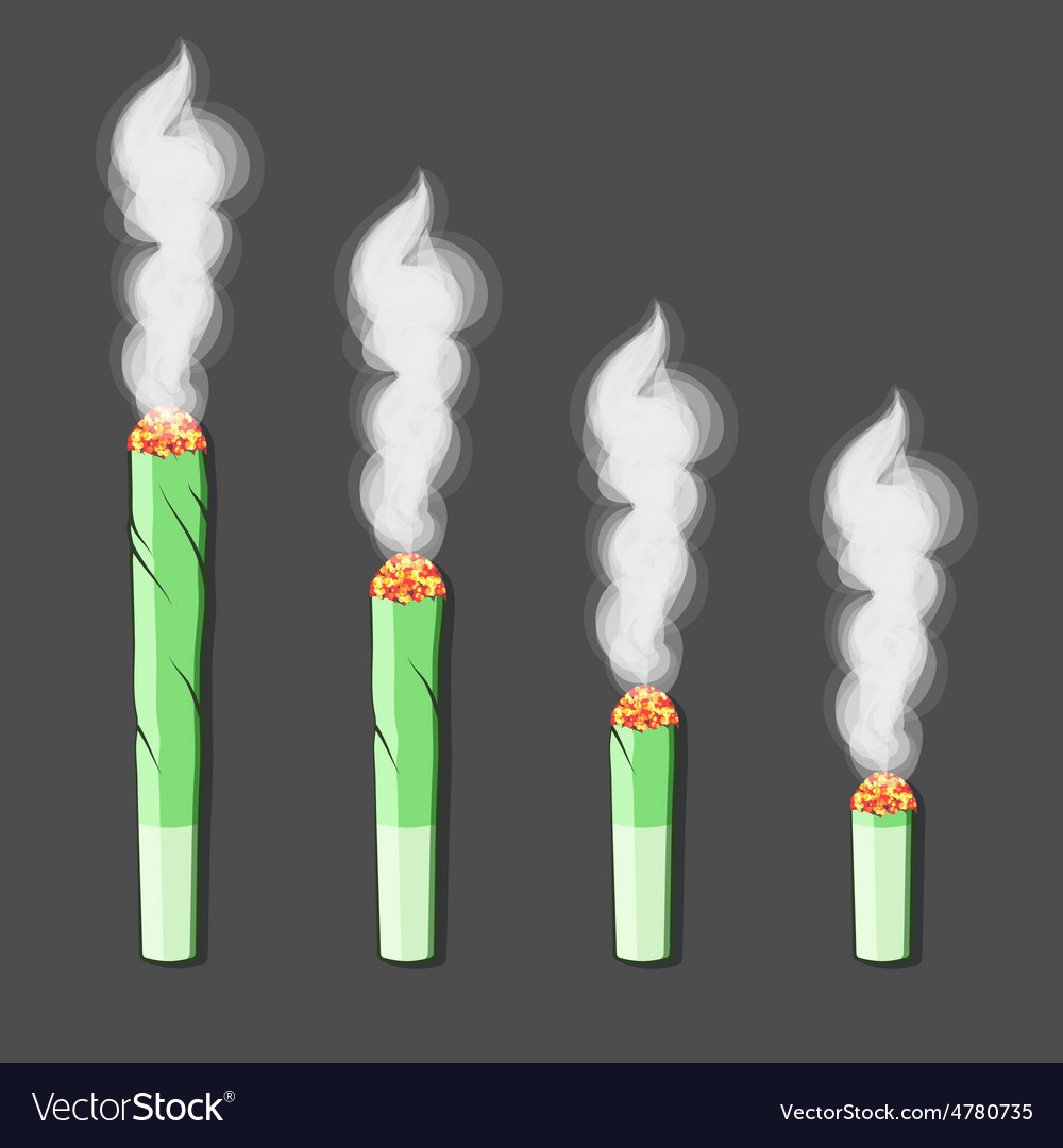 Burning rollup with hemp in flat style vector