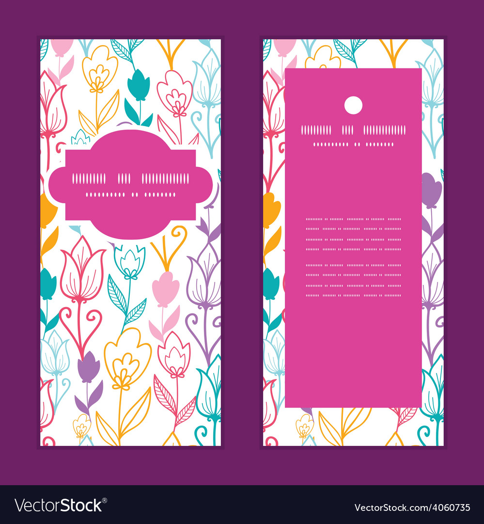 Colorful tulip flowers vertical frame vector | Price: 1 Credit (USD $1)