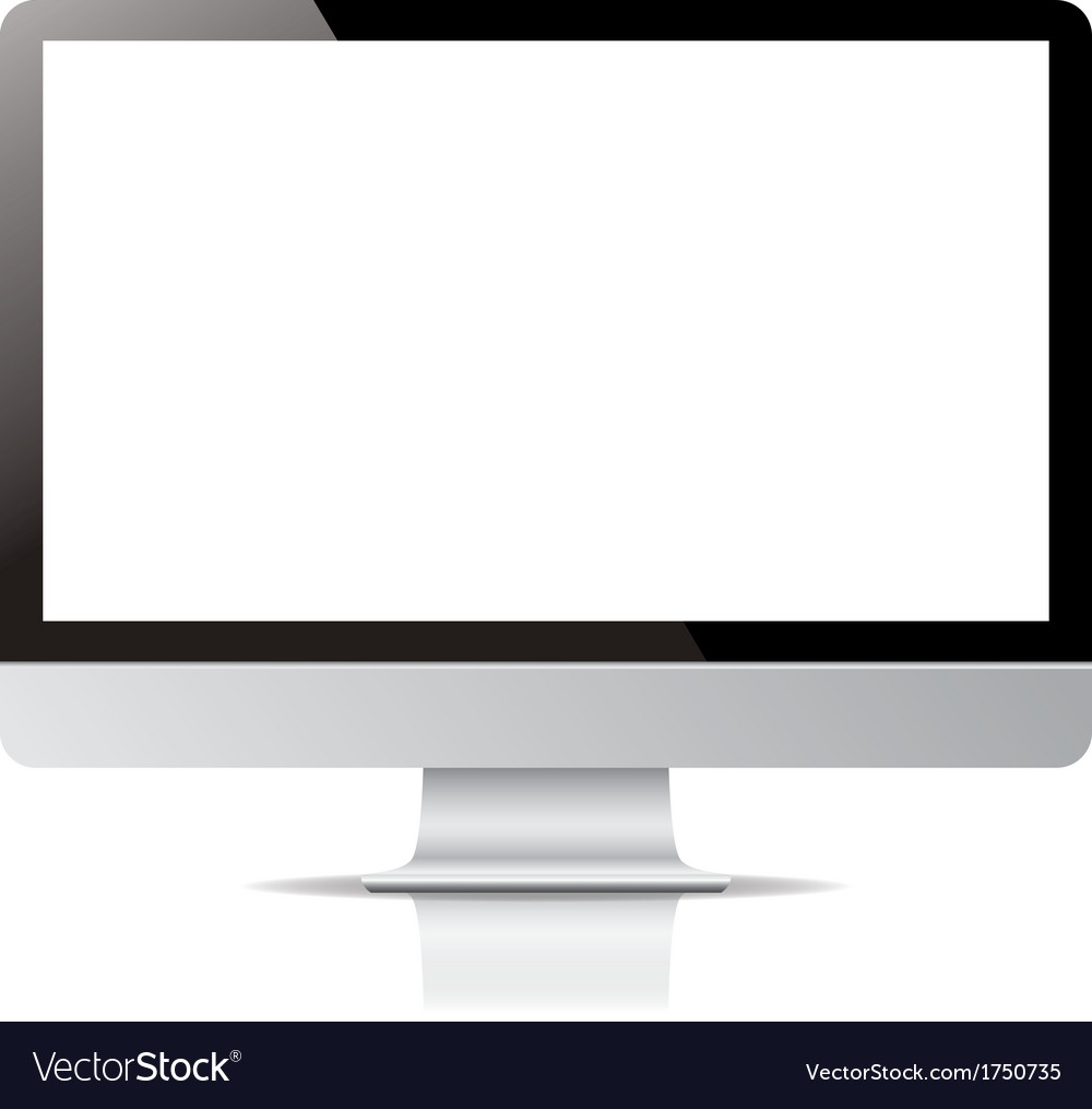Computer display screen isolated on white vector | Price: 1 Credit (USD $1)