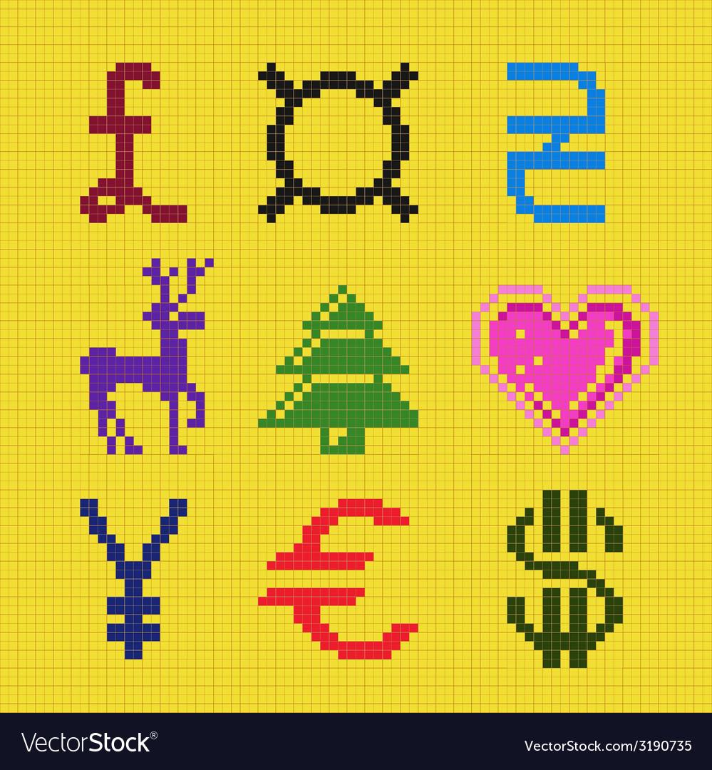 Cross embroidery pixel art currency scheme vector | Price: 1 Credit (USD $1)